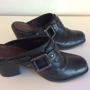 Gianni Bini Black Leather Mules Sz 8 Slip On Shoes